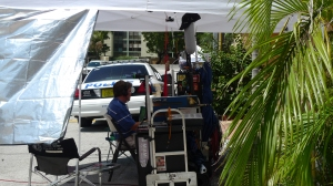 Sound check during filing of Burn Notice episode in Sunny Isles Beach