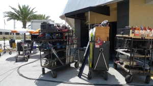 Lighting gear outside shoot location for Burn Notice