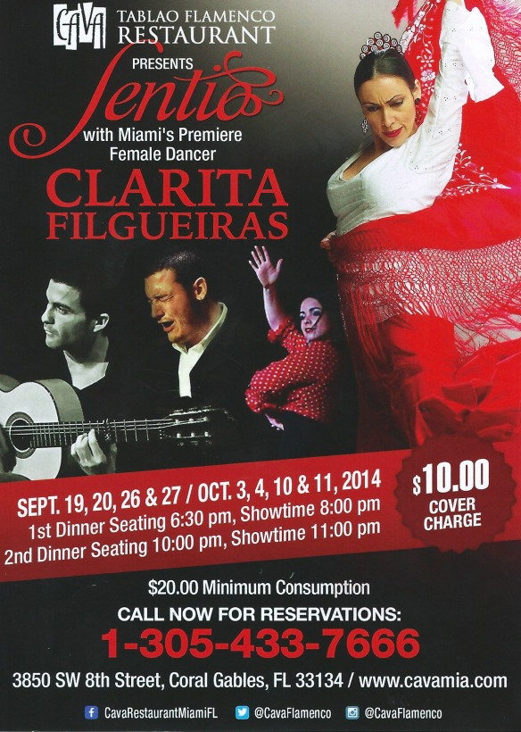 Show da bailarina e flamenco performer Clarita Filgueiras no restaurante espanhol Cava em Miami
